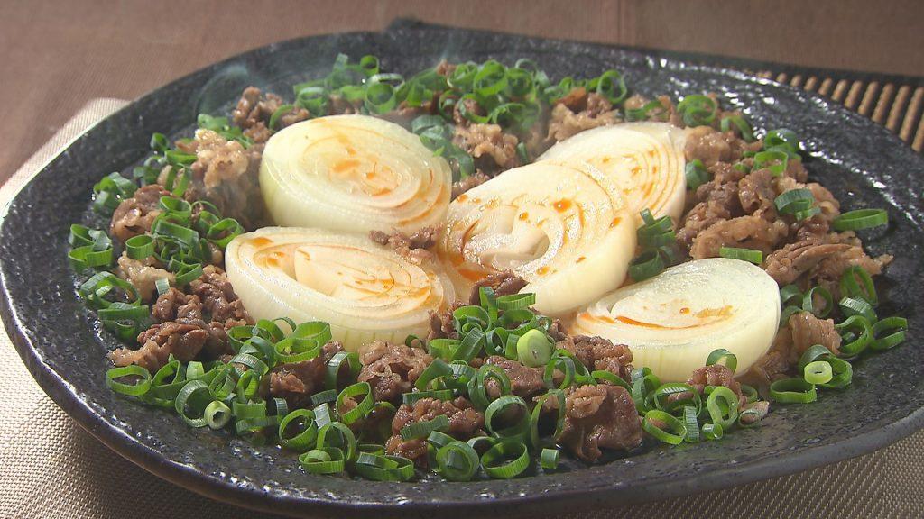 丸ごと玉ねぎと牛こま切れ肉のうま煮