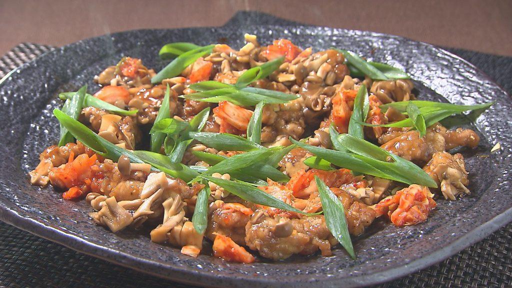 豚こま切れ肉のアジアン焼き キノコのソースをかけて