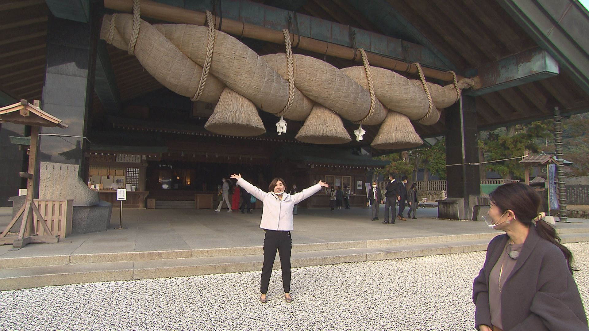 長さ13m・重さ5.2tの大注連縄(大しめなわ)。出雲大社のシンボルです。