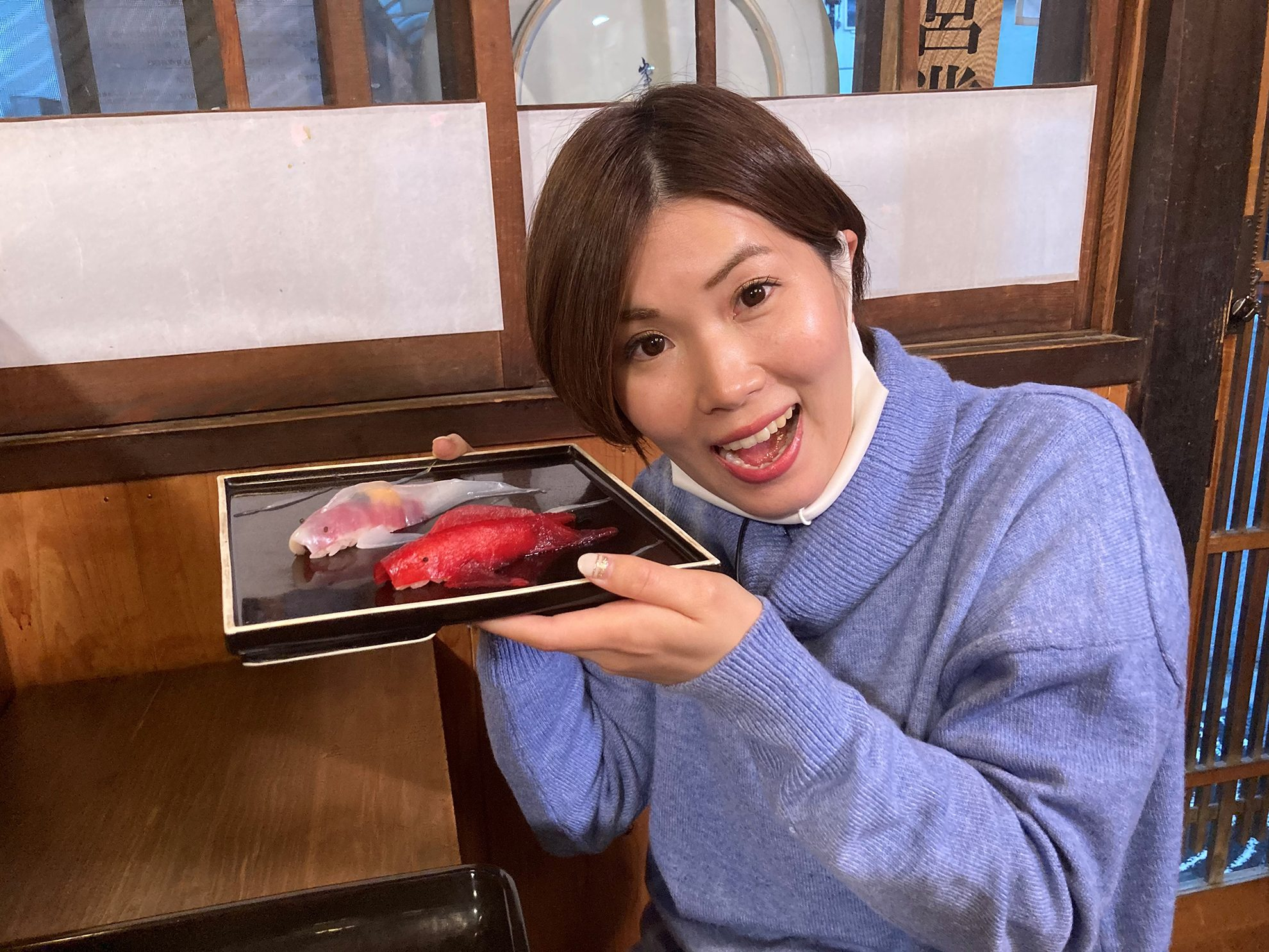 中原レポーターと寿司