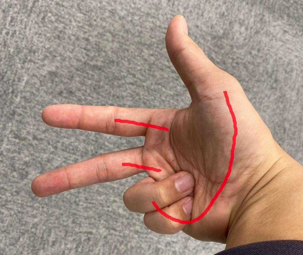 指文字「し」の表現
