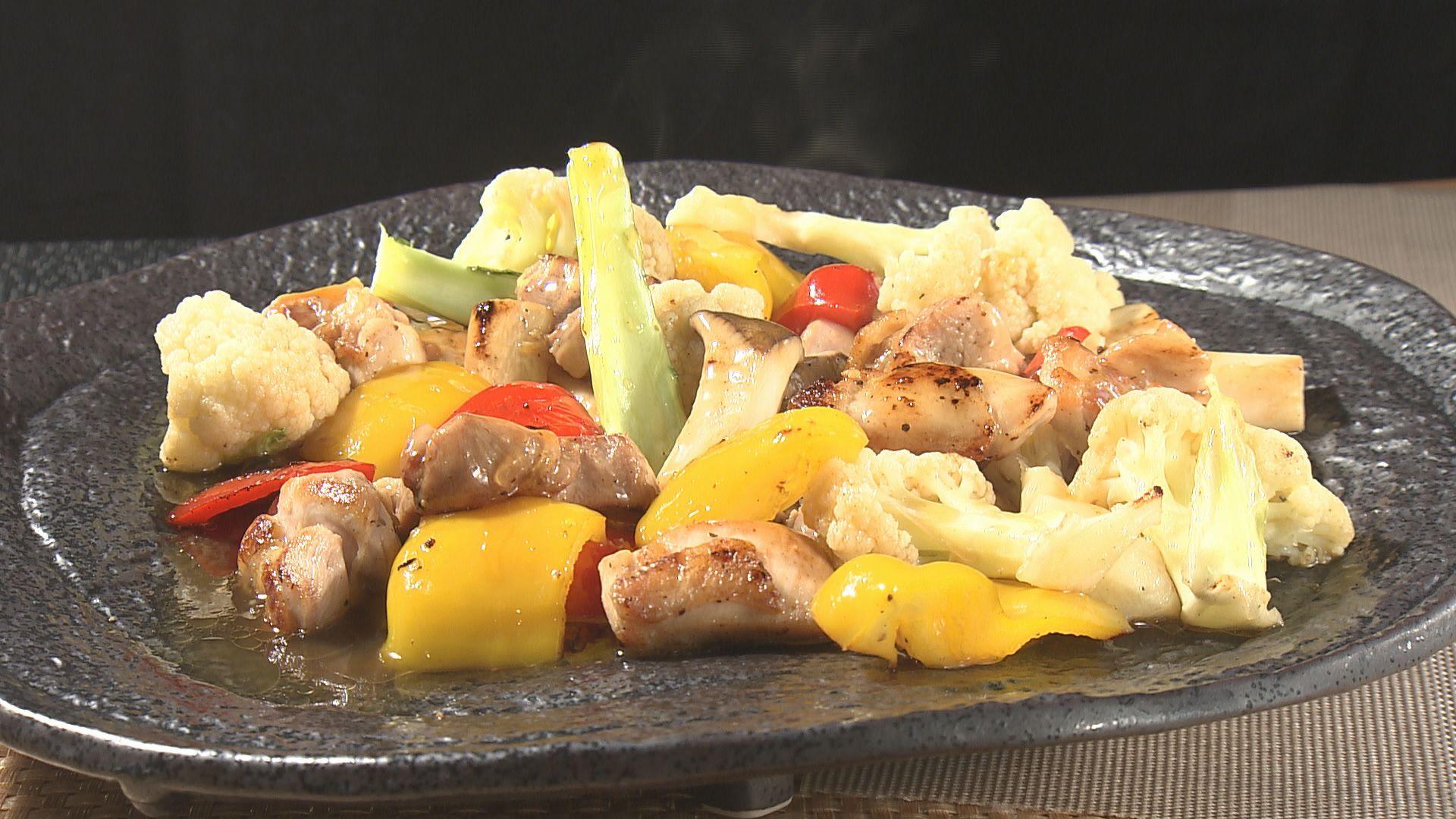 鶏もも肉と彩り野菜のポン酢あんかけ