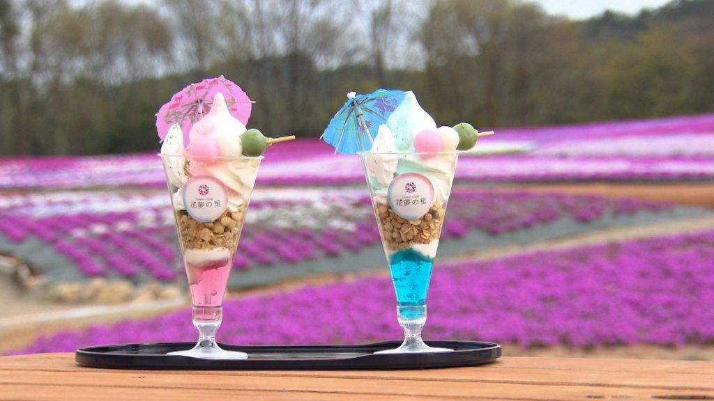 芝桜パフェ と ネモフィラパフェ