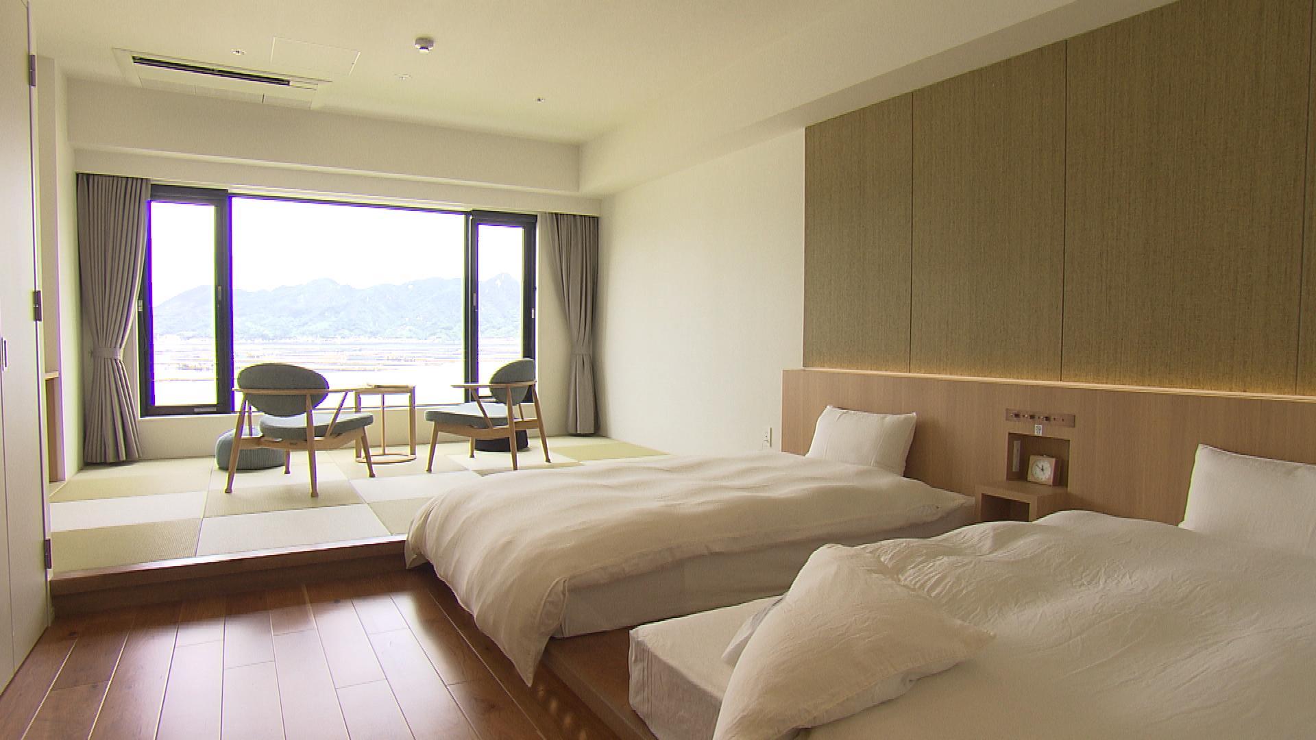 目の前に海が広がる客室