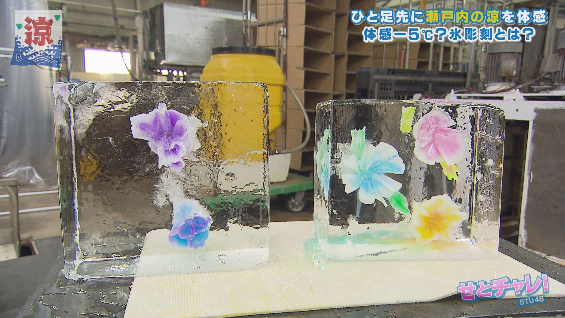 左から:沖ちゃん作「美しい花には毒がある」・ほのたん作「ハワイアンな花」