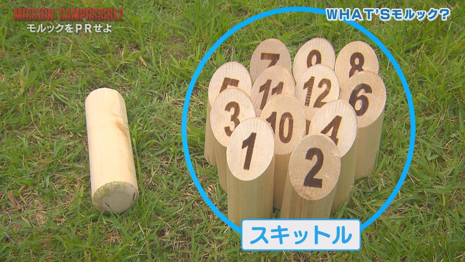 投げる棒「モルック」 右:1~12の番号が書かれた棒「スキットル」
