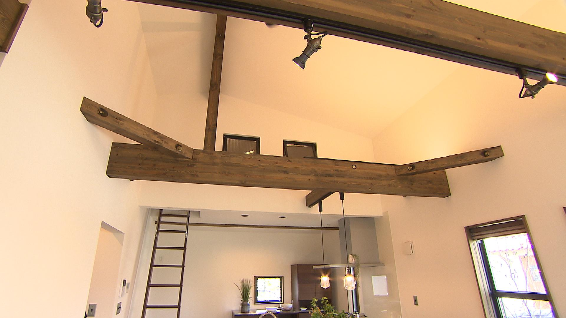 傾斜をつけた勾配天井