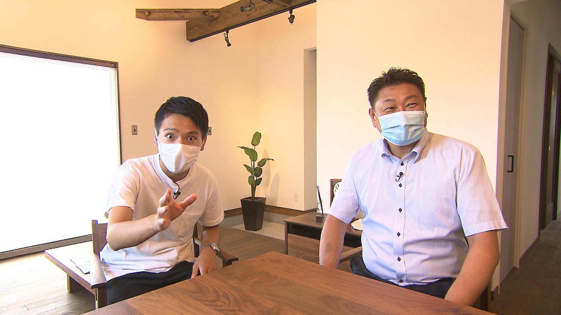 吉弘翔アナウンサー(左) 「マイホームの窓口」小山 聡さん(右)