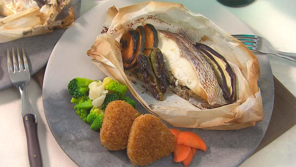 きのこたっぷり♪ 焼き上がりが楽しみ!「鯛と秋野菜の包み焼き」