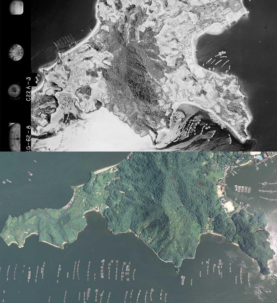 19620730似島南部航空写真(国土地理院)20180711似島南部航空写真(国土地理院)