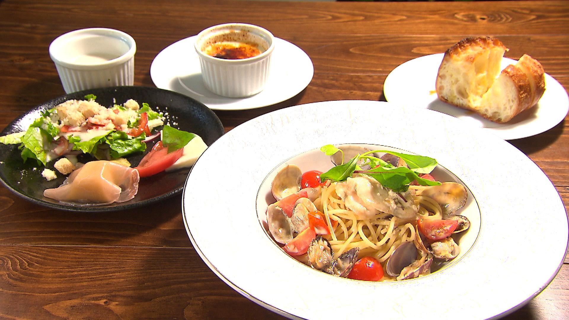 廣島蝶鮫(チョウザメ)を使ったアンチョビクリームソーススパゲッティ ランチセット(1,980円)※季節によってメニューは変わります
